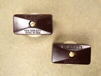 2 Vintage Original Gilbert Bakelite In-line Rotary Thumbwheel On / Off Switch