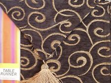"""BLACK Gold Tassel Embroidery Tapestry 12"""" x 72"""" Table Runner by Lace Dimensions"""