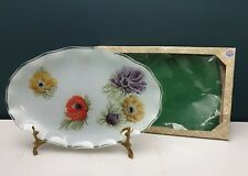 Vintage 60's Chance Fiesta Glass England Anemone Frosted Oval Platter