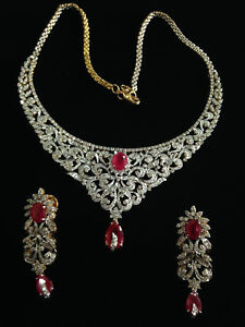 Classy 31.46 Cts Natural Diamonds Ruby Necklace Earrings Set In Solid 14K Gold