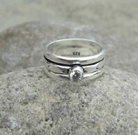 925 Sterling Silver Band Spinner Ring Jewelry Handmade Crystal All Size DO-236