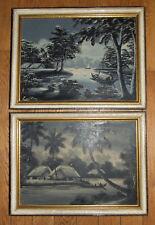 2 tableaux signés noir et blanc indochine Vietnam vers 1960 - 43 x 33cm