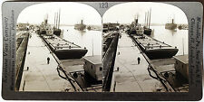 Keystone Stereoview Oil Tankers & Barges at Port Arthur,TX from Education Set #B