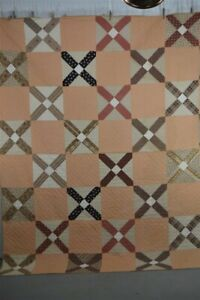 early old period quilt brown peach cotton calico hand made 19th c 1830s