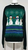 Ladies Christmas Jumper SNOWMAN Fitted Thin Knit Black/Green UK-8 Cotton MOSSIMO