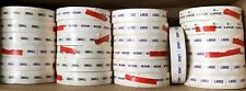 ��Lot 26/ Rolls, 1000 Size Stickers, Small Medium Large X-Large, Old Stock As Is