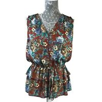 New Pleione Top Size Small Womens Career Floral Peplum Sleeveless Casual NWT