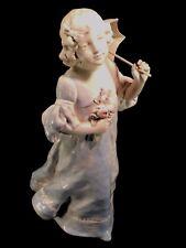 """Ernst Wahliss Biscuit Porcelain Statue 15"""" Hallmarked EW Vienna Austria 1890 ExC"""