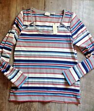 Anthropologie Cotton Knit Striped Top NWT Aqua Blue Red Grey Size Medium