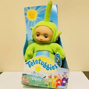 "Teletubbies Talking Dipsy Playskool 1998 Soft Plush Doll 15"" Green With Box Work"