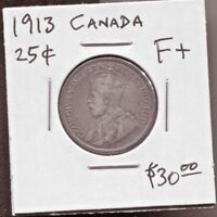 CANADA - BEAUTIFUL HISTORICAL GEORGE V SILVER 25 CENTS, 1913