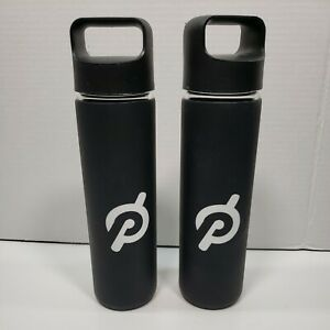 2x Lot: Glass Black Peloton Water Bottle w/ Silicone Non-Slip Grip W/out Box