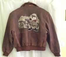 Vintage Warner Bros. Tasmanian Devil Brown Leather Bomber Jacket - Size M