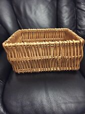 "Whicker Woven Square Basket 11"" X 11"" X 5"" Lovely Condition"