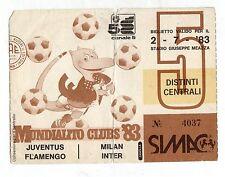 CALCIO  BIGLIETTO TICKET MUNDIALITO  JUVENTUS FLAMENGO / MILAN INTER 2-7-1983