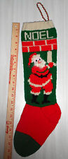 Personalized Hand Knit Christmas Stocking-Santa & Candle w/ANGORA -LEFT POINTING