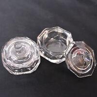 2 Pcs CRYSTAL GLASS DAPPEN DISH & LID BOWL CUP CLEAR NAIL ART Craft Tools Set