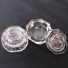 2 Pcs CRYSTAL GLASS DAPPEN DISH & LID BOWL CUP CLEAR NAIL ART Craft Tools Set