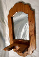 Vintage Solid Wood Oak Hanging Mirror Stand Shelf Shaving Antique-Style Woodwork