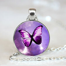 Purple Butterfly Photo Glass Dome Tibet silver Chain Pendant Necklace,Wholesale