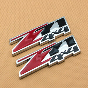 Pair Chrome Z71 Metal Emblem Red & Black Coated 4x4 Badge Logo for GMC Avalanche