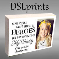 """Personalised Photo Block Wooden 6x4"""" 7x5"""" Picture Frame Any Image Nanny Grandad"""