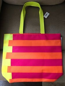 new  CLINIQUE  DONALD X  PINK NEON YELLOW ORANGE  SUMMER SPRING  TOTE BAG
