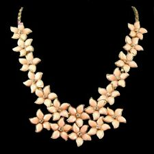 Pale Coral Gold & Crystal Summer Blooms Flower Cluster Collar Statement Necklace