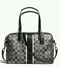 AUTH.BNWT COACH SIGNATURE STRIPE NANCY SATCHEL SHOULDER BAG F30662 $358