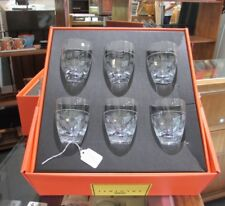 Salviati Nove Porto Glasses Set of 6 Segno Pattern Fine Crystal NEW in Box Italy