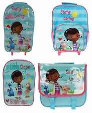GIRLS DISNEY DOC MCSTUFFINS SCHOOL BACKPACK RUCKSACK BAG MESSENGER BAG WHEELS