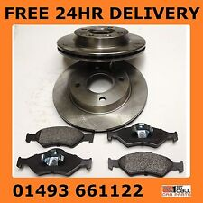 Ford Fiesta Front Vented Brake Discs and Pads Set 2000-2002 240mm 4 stud NOT ABS