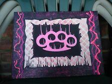 Brass knuckles Pop Art Painting Original Graffiti glitter Canvas Abstract Make$