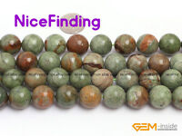 """14mm Natural Green Opal Round Stone Beads For Jewelry Making Gemstone Strand 15"""""""