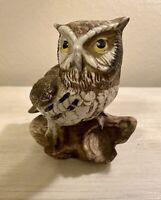 "Vintage Homeco Ceramic Owl Perched on Log 5"" x 5"""