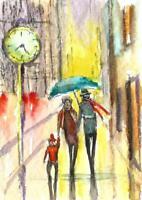 ACEO abstract rain umbrella night lights original painting watercolor art card