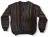 Vtg Cotton Traders 90's Coogi Style Cosby Biggie Hip Hop 3D Textured Sweater M