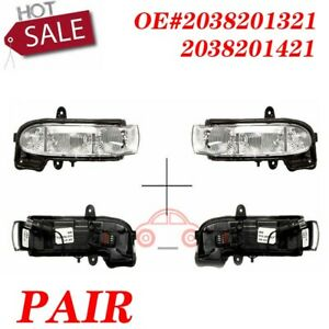 Pair For Mercedes Benz W211 New Left & Right Door Mirror Turn Signals Lights