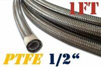 "1/2"" 12MM STAINLESS STEEL E85 ETHANOL PTFE  FUEL HOSE LINE OIL 1 FT"