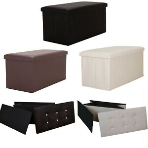 Large Faux Leather  & Suede Diamante Ottoman Storage Box Pouffe Footstool Toy