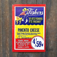 100 Vintage Original FISHERS PIMIENTO CHEESE Small Package Labels 1930s NOS