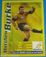 """Rugby Union Wallabies Matthew Burke WEET-BIX """"Eat n Win"""" Card"""