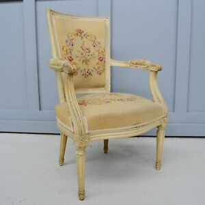 Upholstered French Country Fauteuil Armchair with Tapestry Fabric