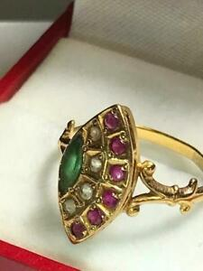 Stunning 18K Gold Egyptian Emerald, Burmese Rubies, & White Sapphires Fan Ring