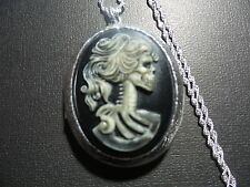 SKELETON GODDESS CAMEO LOCKET HAND PAINTED