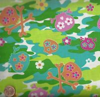 Cool girl green camo sugar skulls Kanvas fabric