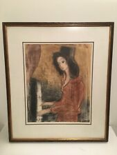 Etienne Ret Saint Cecilia Signed 19/150 Drypoint Etching girl piano Lithograph