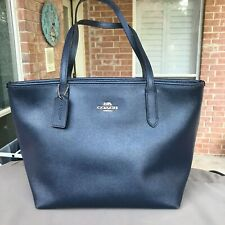 New Women's Coach F83857 CrossGrain Leather City ZIP Tote Bag Color IM/Midnight