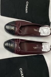 Authentic Chanel Flat Shoes Calfskin UK 7.5