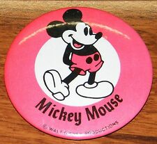 Vintage Red Mickey Mouse Walt Disney Productions Cirular Pin Back Button / Pin